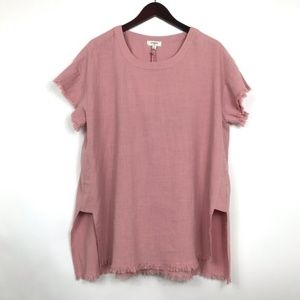 Mauve Tunic Short Sleeve Side Slit Frayed Blouse